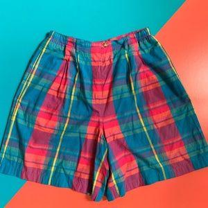 Vintage Plaid Multi Color Long Shorts